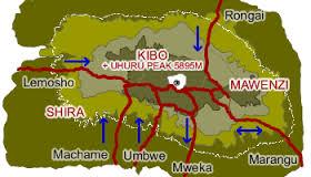 Kilimanjaro map routes.